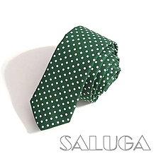 Doplnky - Pánska slim kravata - bodkovaná - zelená - poľovnícka - vojenská - 10328828_