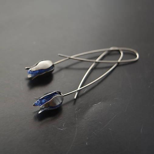 Náušnice PET modré puky