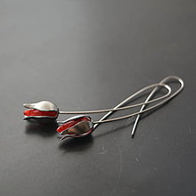 Náušnice - Náušnice PET červené puky - 10328173_