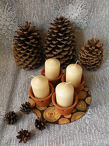 Svietidlá a sviečky - Originální keramické svícny s podložkou přírodní - 10331473_
