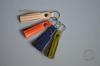 Materiál ručne robený - Kožený strapec s krúžkom - 10331912_