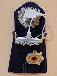 Úžitkový textil - Kapsička na mobil..... pri nabíjaní - 10331224_