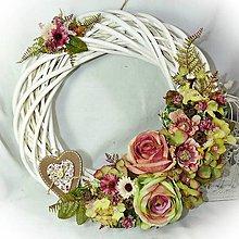 Dekorácie - Věnec velký - Růžovo-zelenkavé jaro - 10330864_