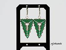 Náušnice - Náušnice - zelené trojuholníky - 10331413_