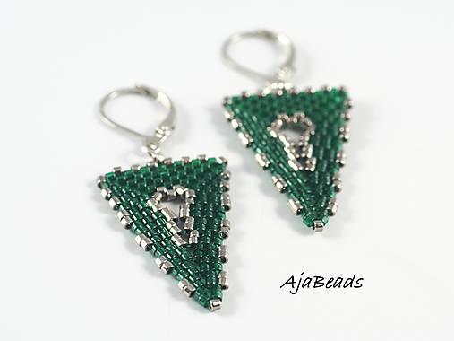 Náušnice - zelené trojuholníky