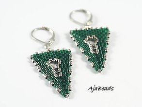 Náušnice - Náušnice - zelené trojuholníky - 10331412_