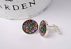 Šperky - manžetové gombíky ľudové kvetinové čierne - 10328135_