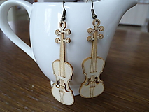 Náušnice - Drevené náušnice Violin - 10330053_