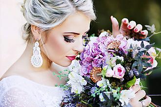 Náušnice - Svadobné soutache náušnice - 10328944_