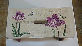 Nábytok - Drevený šamlík bordové kvety - 10331171_