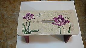 Nábytok - Drevený šamlík bordové kvety - 10331191_