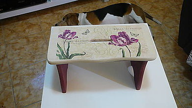 Nábytok - Drevený šamlík bordové kvety - 10331193_