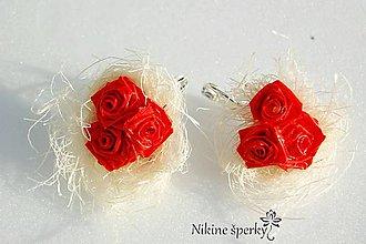 Náušnice - Kytica červených ruží - 10331448_