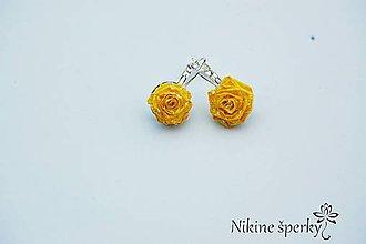 Náušnice - Žlté ružičky - 10331498_