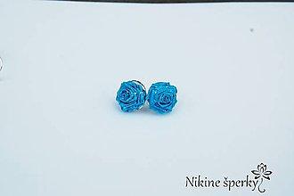 Náušnice - Modré ružičky - 10331507_