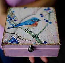 Krabičky - vintage šperkovnica vtáčik - 10331197_