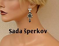 - Šité náušnice čierno-strieborné ,Swarovski, mosadzné zapínanie - 10330689_