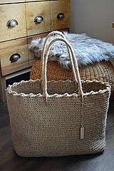 Veľké tašky - Maxi jutová taška so spevneným okrajom - 10331160_