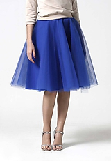 Tylová midi sukňa kráľovská modrá