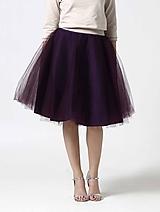 Tylová midi sukňa tmavo fialová