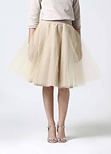 Sukne - Tylová midi sukňa béžová - 10332367_