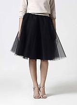 Sukne - Tylová midi sukňa čierna - 10332407_