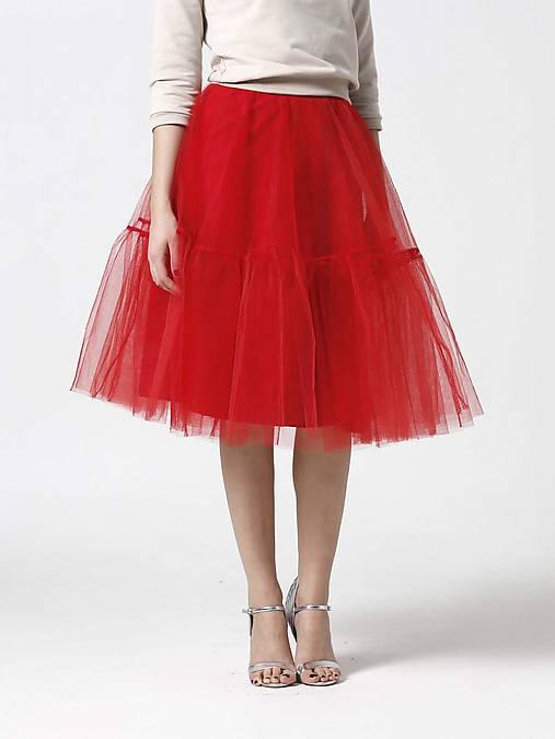 Tylová midi sukňa červená s volánmi