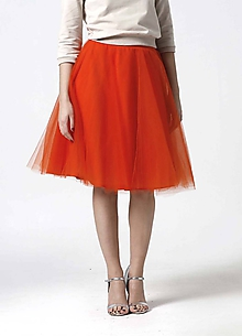 Sukne - Tylová midi sukňa oranžová - 10332337_