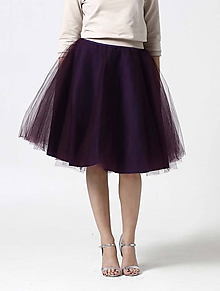 Sukne - Tylová midi sukňa tmavo fialová - 10332342_