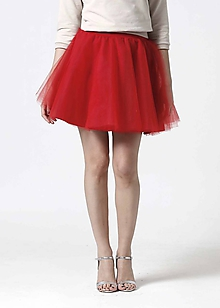 Sukne - Tylová mini sukňa červená - 10332353_