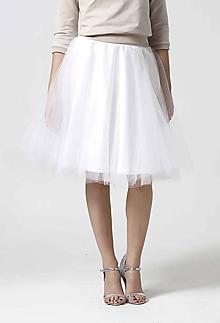 Sukne - Tylová midi sukňa biela - 10332429_