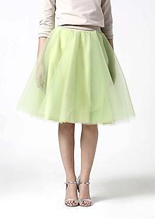 Sukne - Tylová midi sukňa bledo zelená - 10332458_