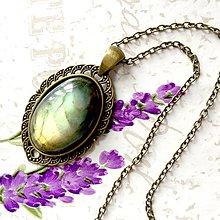 Náhrdelníky - Natural Labradorite & Bronze Necklace / Výrazný náhrdelník s labradoritom v bronzovom prevedení #1462 - 10334753_