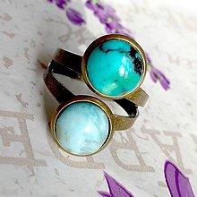 Prstene - Harmony of Gemstones Ring - Turquoise & Larimar / Prsteň Harmónia minerálov - tyrkys a larimar /1463 - 10334880_