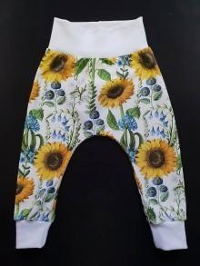 """Detské oblečenie - Tepláčiky """" slnečnice v bielom"""" - 10332203_"""
