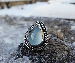 Prstene - Strieborný Prsteň s Akvamarínom - 10332773_