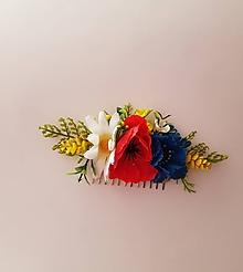 Ozdoby do vlasov - folklórny hrebienok do vlasov z lúčnych kvetov - 10332756_