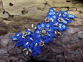 Ozdoby do vlasov - čipková ozdoba do vlasov - kráľovská modrá + zlatá - 10333696_