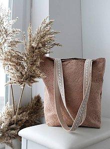 Veľké tašky - Čipkovaná taška Staroružová so zipsom pre Elišku - 10335205_