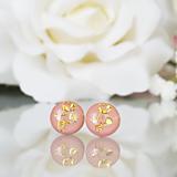 Náušnice - Napichovacie náušnice - ružové - Flower - 10334786_