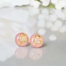 Náušnice - Napichovacie náušnice - ružové - Flower - 10334782_