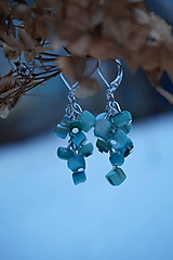 Náušnice - Zlomkové perleťové tyrkysové - 10335282_