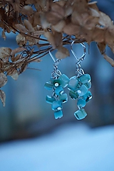 Náušnice - Zlomkové perleťové tyrkysové - 10335287_