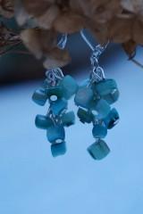 Náušnice - Zlomkové perleťové tyrkysové - 10335288_