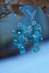 Náušnice - Zlomkové perleťové tyrkysové - 10335294_
