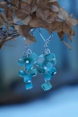 Náušnice - Zlomkové perleťové tyrkysové - 10335295_