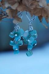 Náušnice - Zlomkové perleťové tyrkysové - 10335300_