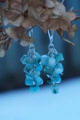 Náušnice - Zlomkové perleťové tyrkysové - 10335306_