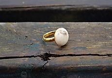 Prstene - Slonová kosť pozlátený prsteň zo striebra - 10333590_