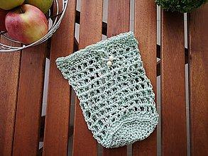 Úžitkový textil - Háčkované EKO nákupné vrecko na ovocie a zeleninu - malé (mentolové) - 10332109_